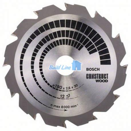 Construct Wood для ручных циркулярных пил 190x30мм, 2608640633, Bosch