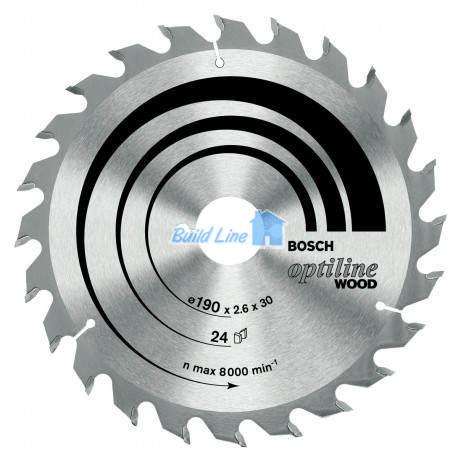 Optiline Wood для ручных циркулярных пил 190x30мм 24z, 2608640615, Bosch