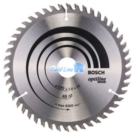 Optiline Wood для ручных циркулярных пил 190x30мм 48z, 2608640617, Bosch