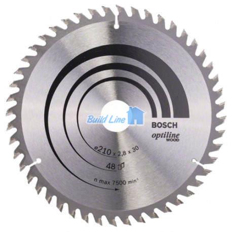 Optiline Wood для ручных циркулярных пил 210x30мм 48z, 2608640623, Bosch